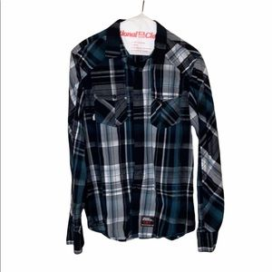 Fame Jeans Inc No Fear Plaid Button down Shirt